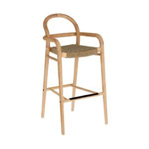 LAFORMA Beige Sheryl barstol til haven, m. armlæn, ryglæn og fodstøtte - natur eukalyptustræ (79cm)