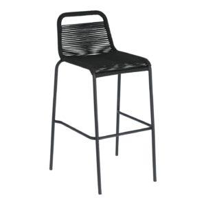 LAFORMA Black Glenville barstol til haven, m. ryglæn og fodstøtte - stål (100cm)