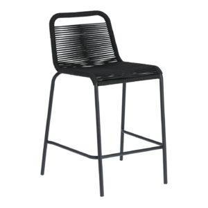 LAFORMA Black Glenville barstol til haven, m. ryglæn og fodstøtte - stål (88cm)