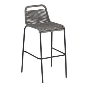 LAFORMA Grey Glenville barstol, m. ryglæn og fodstøtte - stål (100cm)
