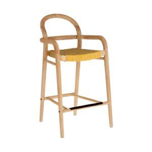 LAFORMA Mustard Sheryl barstol til haven, m. armlæn, ryglæn, fodstøtte - natur eukalyptustræ (69cm)