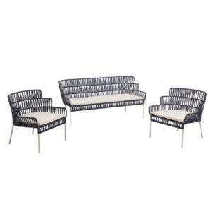 LAFORMA Robyn sofa og 2 lænestole, m. stofhynder - blå og stål
