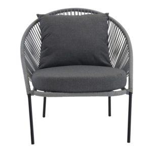 VENTURE DESIGN Lindos udendørs loungestol med hynde - grå med sort stel
