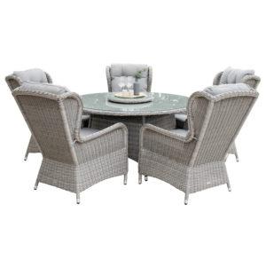 VENTURE DESIGN Washington havesæt m. bord (Ø140) og 5 stole m. armlæn og hynde - gråt rattan og glas