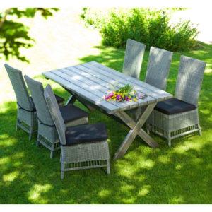 Hillerstorp Anna havemøbelsæt med 6 stole - Natur/grå