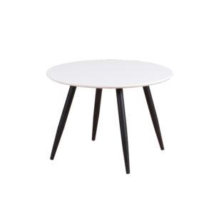 VENTURE DESIGN Plaza spisebord - hvid MDF og sort metal (Ø60)