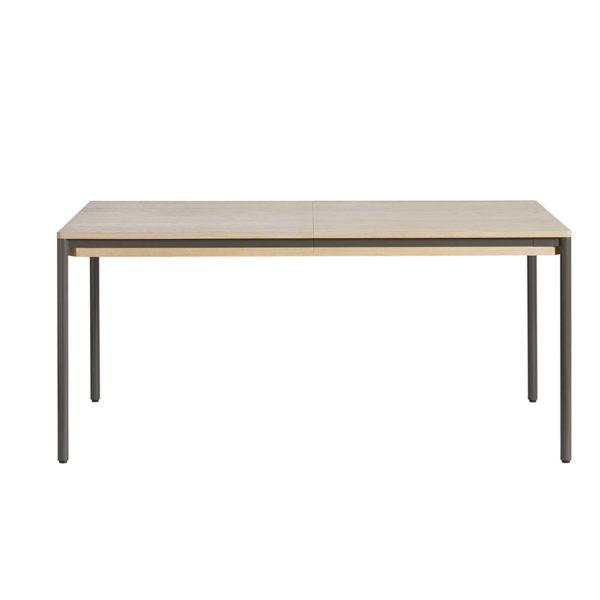 WOUD Piezas spisebord, m. udtræk - hvidpigmenteret egetræ og metal (160/205x95)