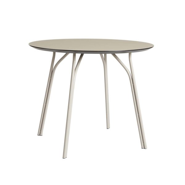 WOUD Tree spisebord - beige laminat og metal (Ø90)