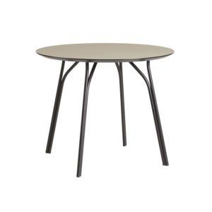 WOUD Tree spisebord - beige laminat og sort metal (Ø90)