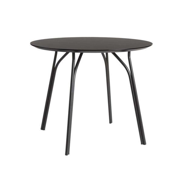 WOUD Tree spisebord - sort træ og metal (Ø90)