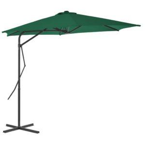 vidaXL udendørs parasol med stålstang 300 cm grøn
