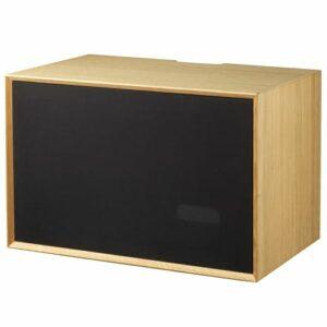 Living&more skab med stoflåge - The Box - 37 x 58 x 34 cm - Eg/sort