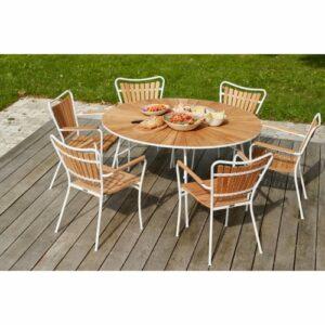Mandalay Marguerit havemøbelsæt med 6 stole - Teak/hvid