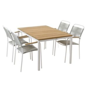 Mandalay Toscana havemøbelsæt med 4 Verona stole - Teak/hvid/grå