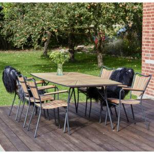 Mandalay Marguerit havemøbelsæt med 6 stole - Teak/antracit