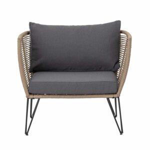 BLOOMINGVILLE Mundo loungestol, m. armlæn og grå hynder - brunt reb og sort metal