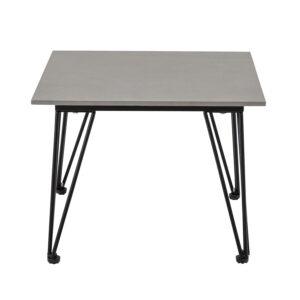 BLOOMINGVILLE Mundo sofabord, kvadratisk - gråt beton og sort metal (55x55)