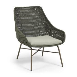 LAFORMA Abeli lænestol, m. armlæn - grøn reb og galvaniseret stål