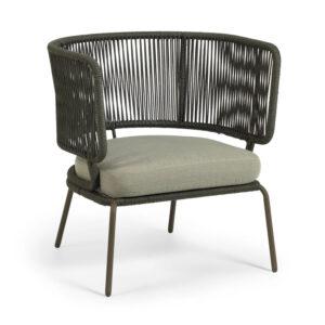 LAFORMA Nadin loungestol, m. armlæn og hynde - grønt reb og galvaniseret stål