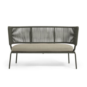 LAFORMA Nadin sofa, 2 personers, m. armlæn - grønt reb og galvaniseret stål (135x65)
