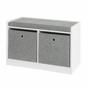 Bænk med kasser til opbevaring, hvid og grå L68 * B32 * H45cm