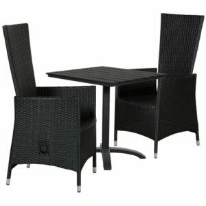 Clara cafésæt med 2 Isabella stole - Sort