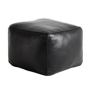 FUHRHOME Memphis puf - sort bøffel læder (65x65)