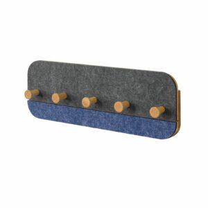 Knagerække med 5 kroge, 2-farvet i grå og blå