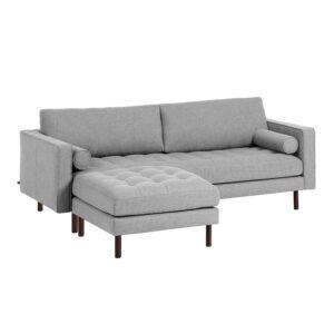 LAFORMA Bogart 3 pers. sofa, m. puf - lysegrå polyester og bøgetræ