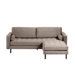 LAFORMA Bogart 3 pers. sofa, m. puf - taupe fløjl og bøgetræ
