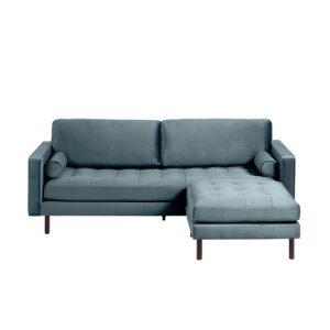LAFORMA Bogart 3 pers. sofa, m. puf - turkis fløjl og bøgetræ
