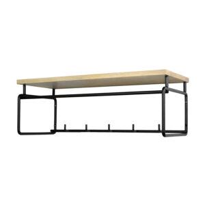 SPINDER DESIGN rektangulær Clint knagerække, m. hylde, bøjlestang og 5 knager - sort stål