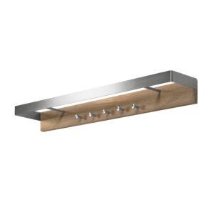 SPINDER DESIGN rektangulær Noa knagerække, m. 5 knager og 2 bøjlestænger - stål