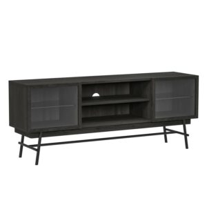 CANETT Milian TV-bænk, m. 2 låger - sort asketræsfiner og sort jern (130x37)